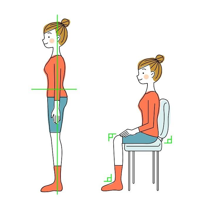 立っている姿勢と座っている姿勢